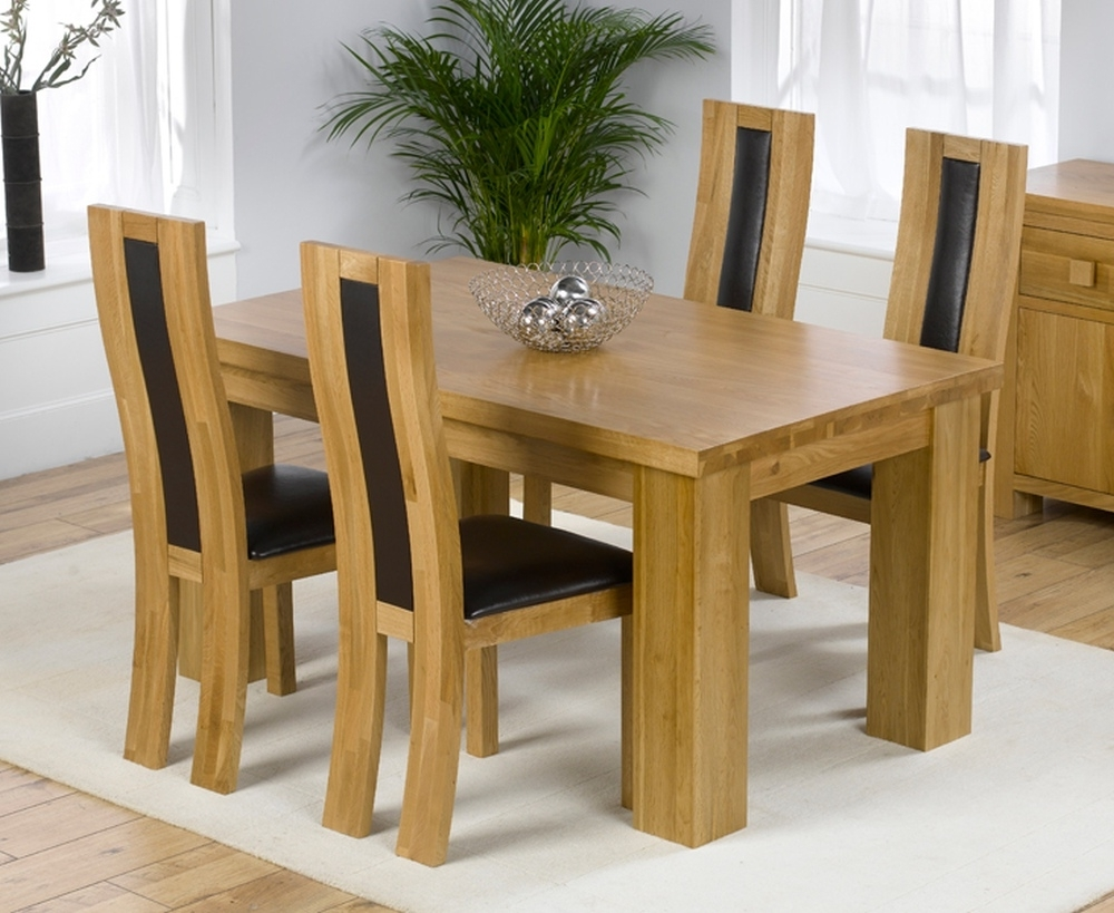 Solid Oak Dining Table And Chairs Rustic White Dining Chairs Within Most Popular Light Oak Dining Tables And Chairs (View 23 of 25)