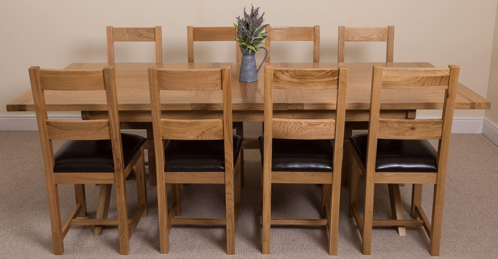 Solid Oak Dining Tables And 8 Chairs In Most Up To Date Vermont Dining Set With 8 Lincoln Chairs (View 18 of 25)