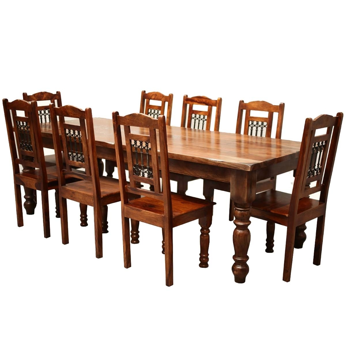 Solid Oak Dining Tables And 8 Chairs Intended For Most Current Rustic Furniture Solid Wood Large Dining Table & 8 Chair Set (View 19 of 25)