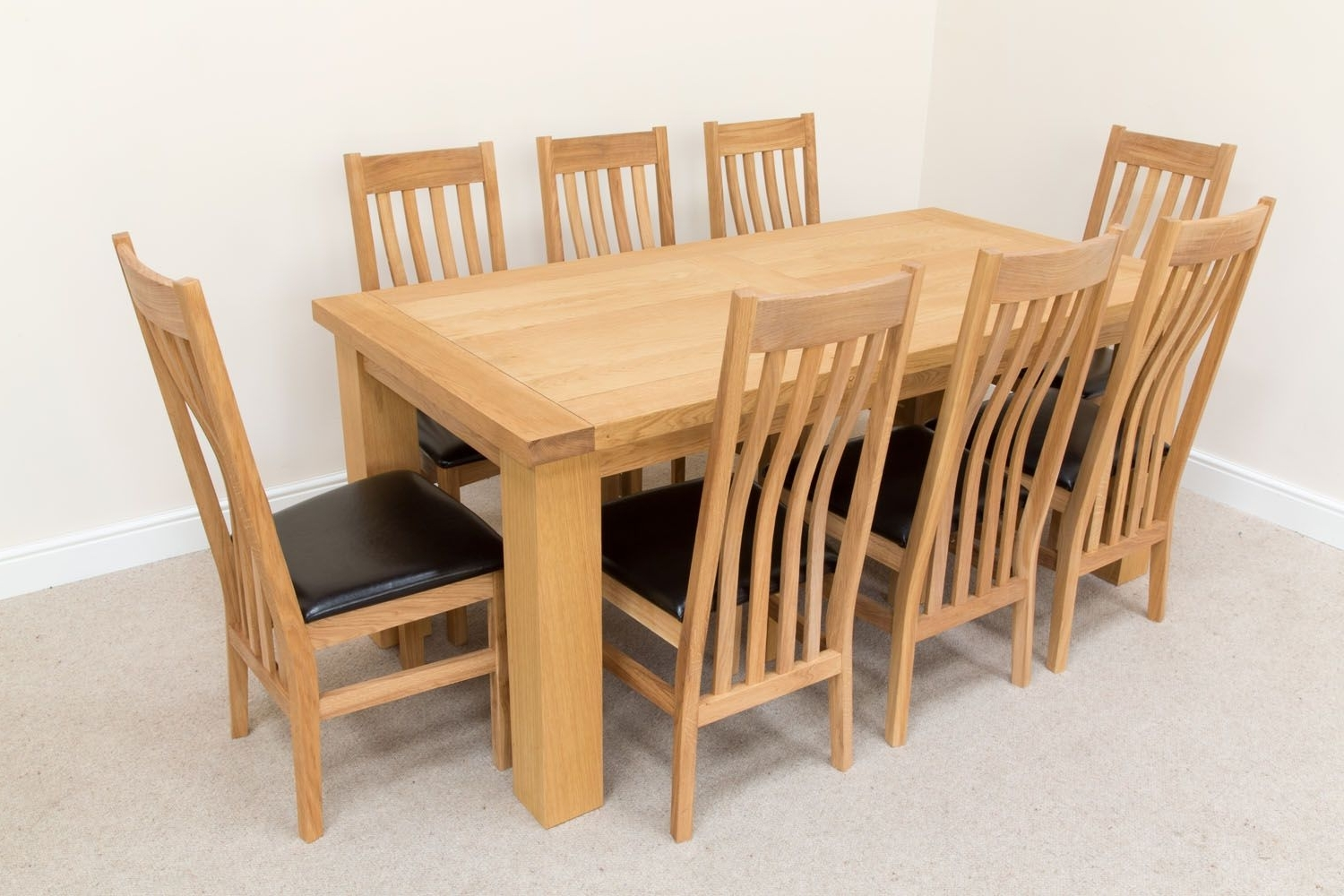 Solid Oak Dining Tables And 8 Chairs Within Best And Newest Riga Oak Table 8 Seater Winchester Brown Chair Dining Set (View 23 of 25)