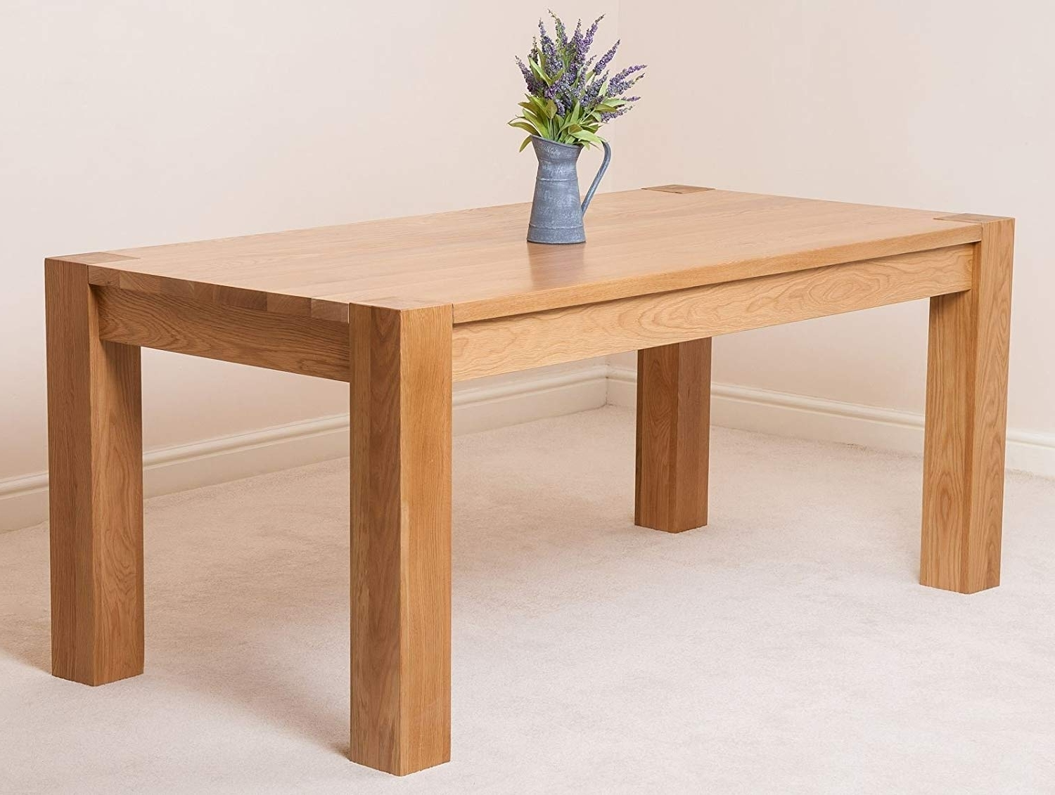 Solid Oak Dining Tables With Popular Kuba Chunky Solid Oak 180 X 90 X 78 Cm Dining Room Kitchen Table (View 18 of 25)