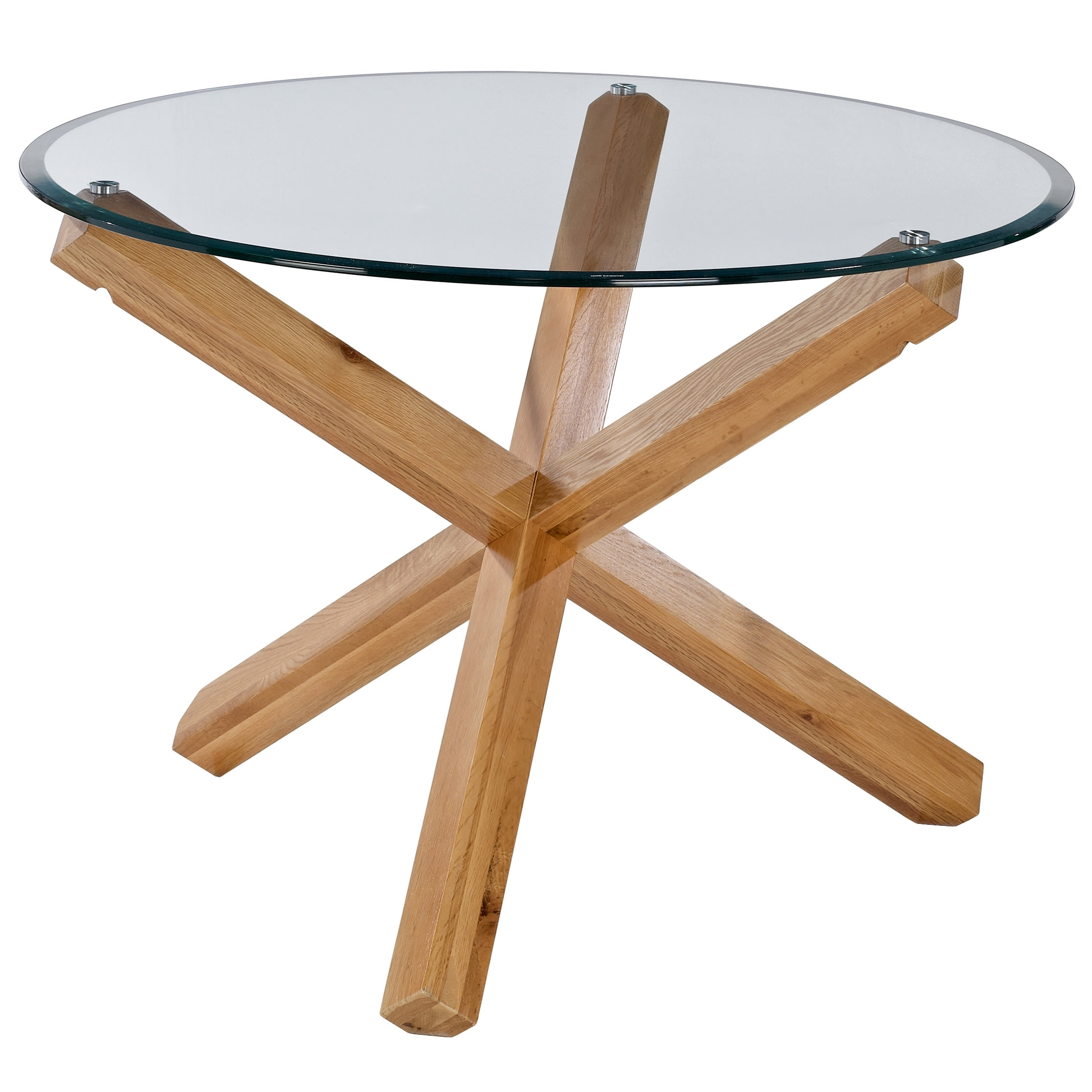 Solid Oak & Glass Round Dining Table And 4 Leather Chair Set (View 22 of 25)