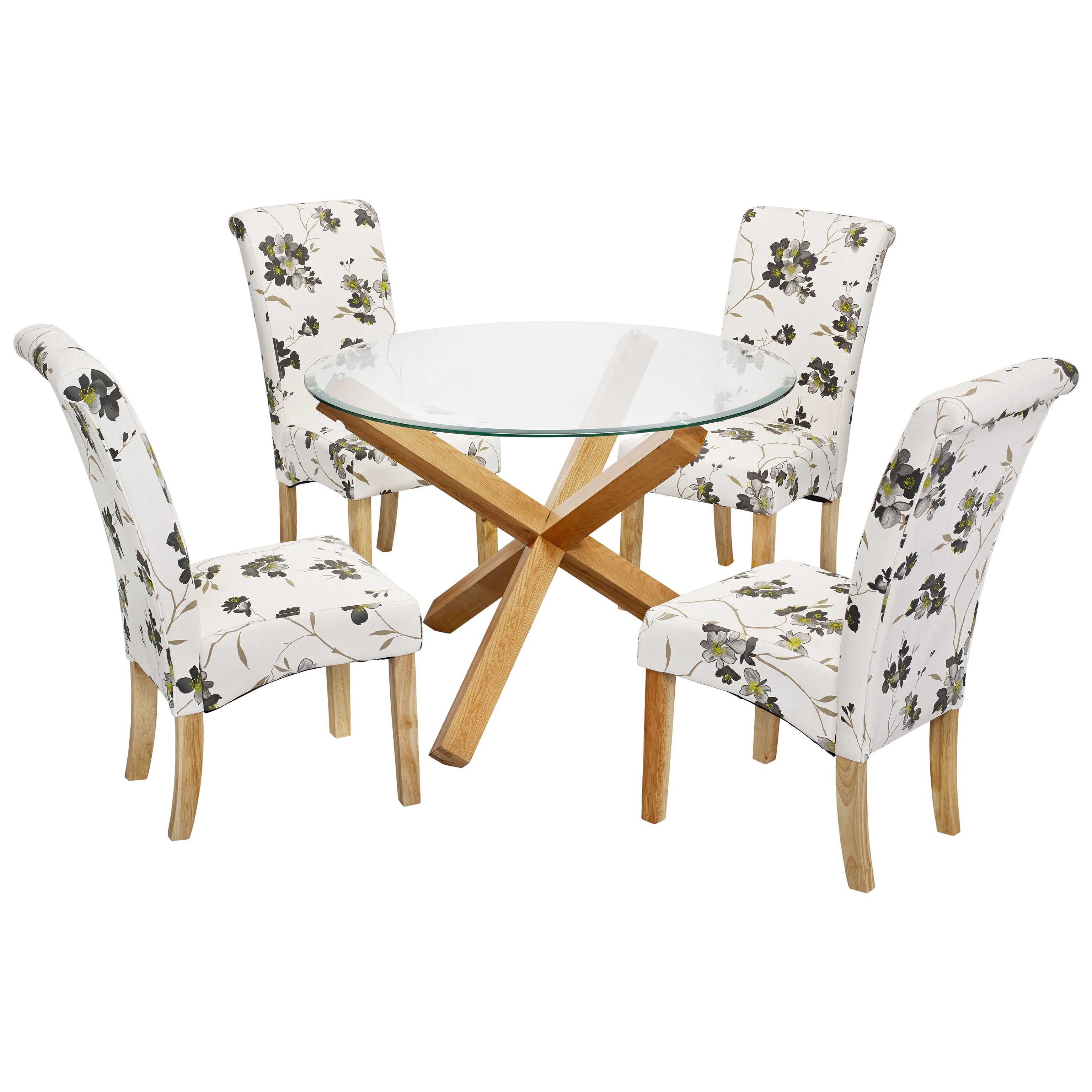 Solid Oak Glass Round Dining Table And Chair Set With 4, Round Table With Favorite Glass And Oak Dining Tables And Chairs (View 13 of 25)