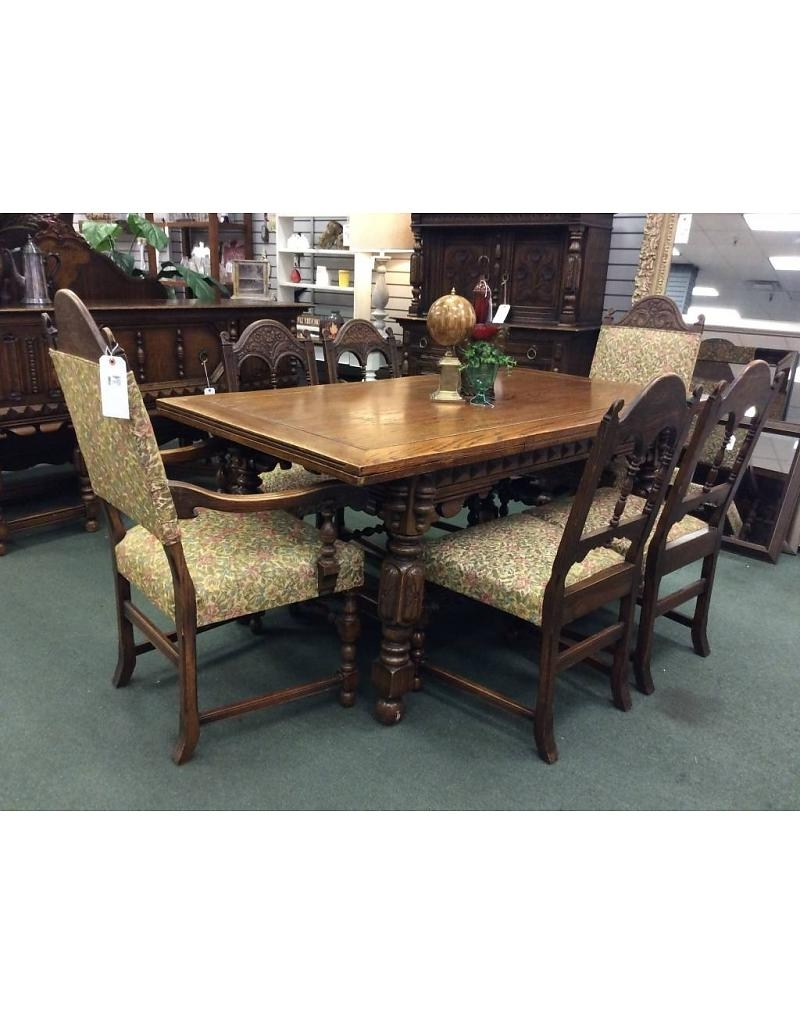 Solid Oak Jacobean Style Dining Table & 6 Chairs – Heirloom Home Within Most Popular Oak Dining Tables With 6 Chairs (View 17 of 25)