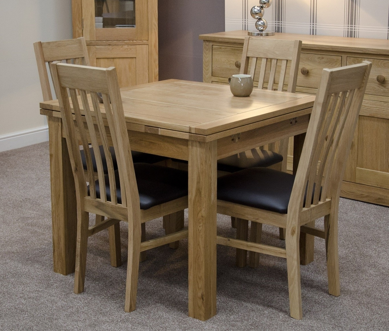 Solid Oak Small Draw Leaf Extending Dining Table (View 9 of 25)