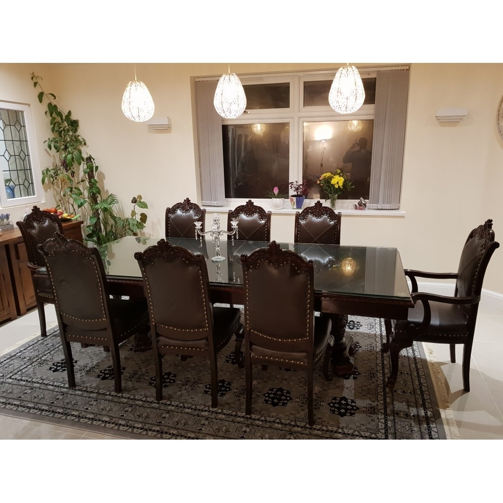 Solid Sheesham Chinioti Classic 8 Chair Dining Table Set For Trendy Sheesham Dining Tables 8 Chairs (View 24 of 25)