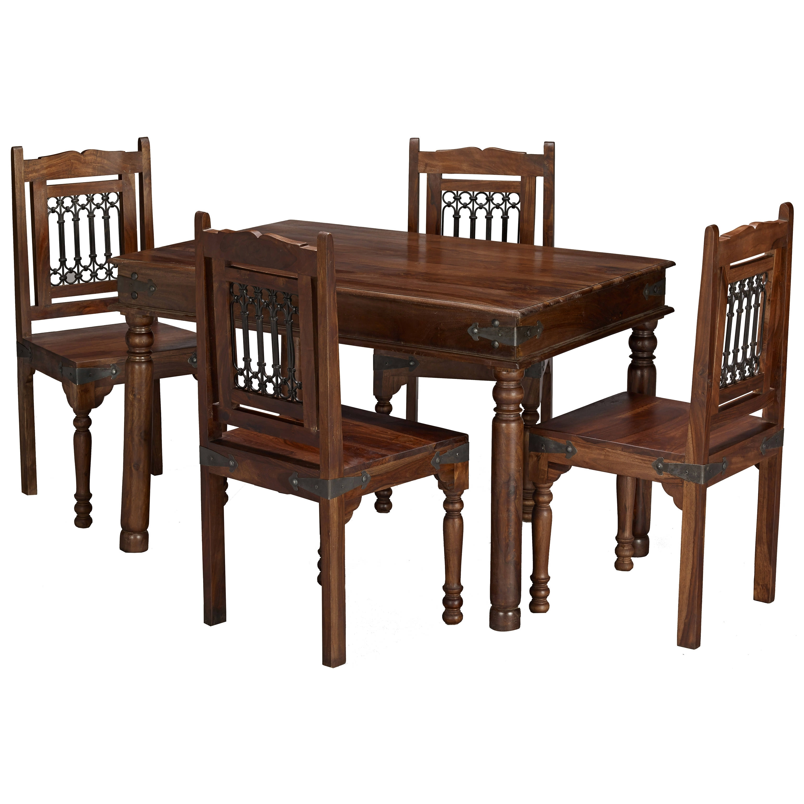 Solid Sheesham Wood Dining Table And Chair Set With 4 Seats (View 24 of 25)