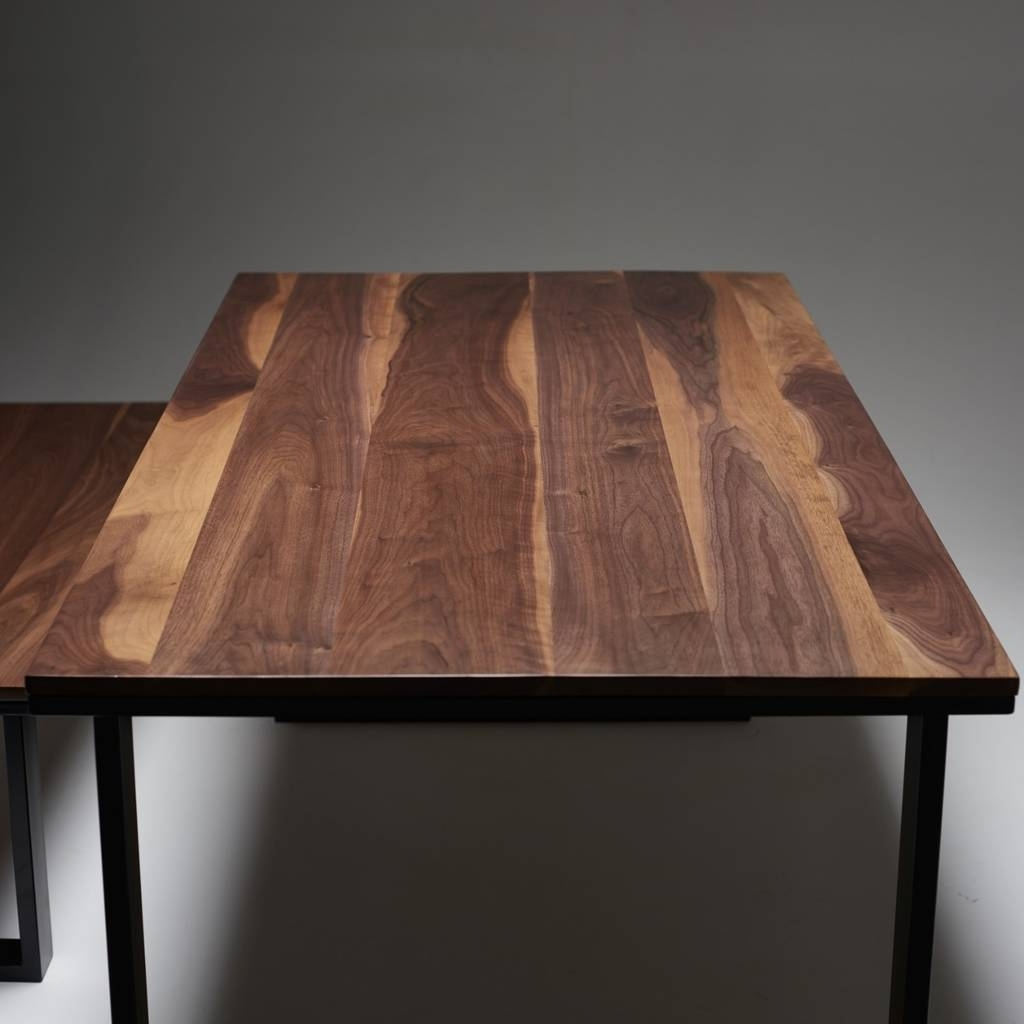 Solid Walnut Dining Table With Industrial Steel Legswicked In Fashionable Walnut Dining Tables (View 3 of 25)
