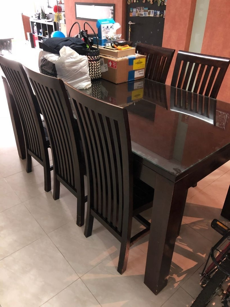 Solid Wood Balinese Dining Table With 6 Chairs And Glass Top In Most Up To Date Balinese Dining Tables (View 9 of 25)
