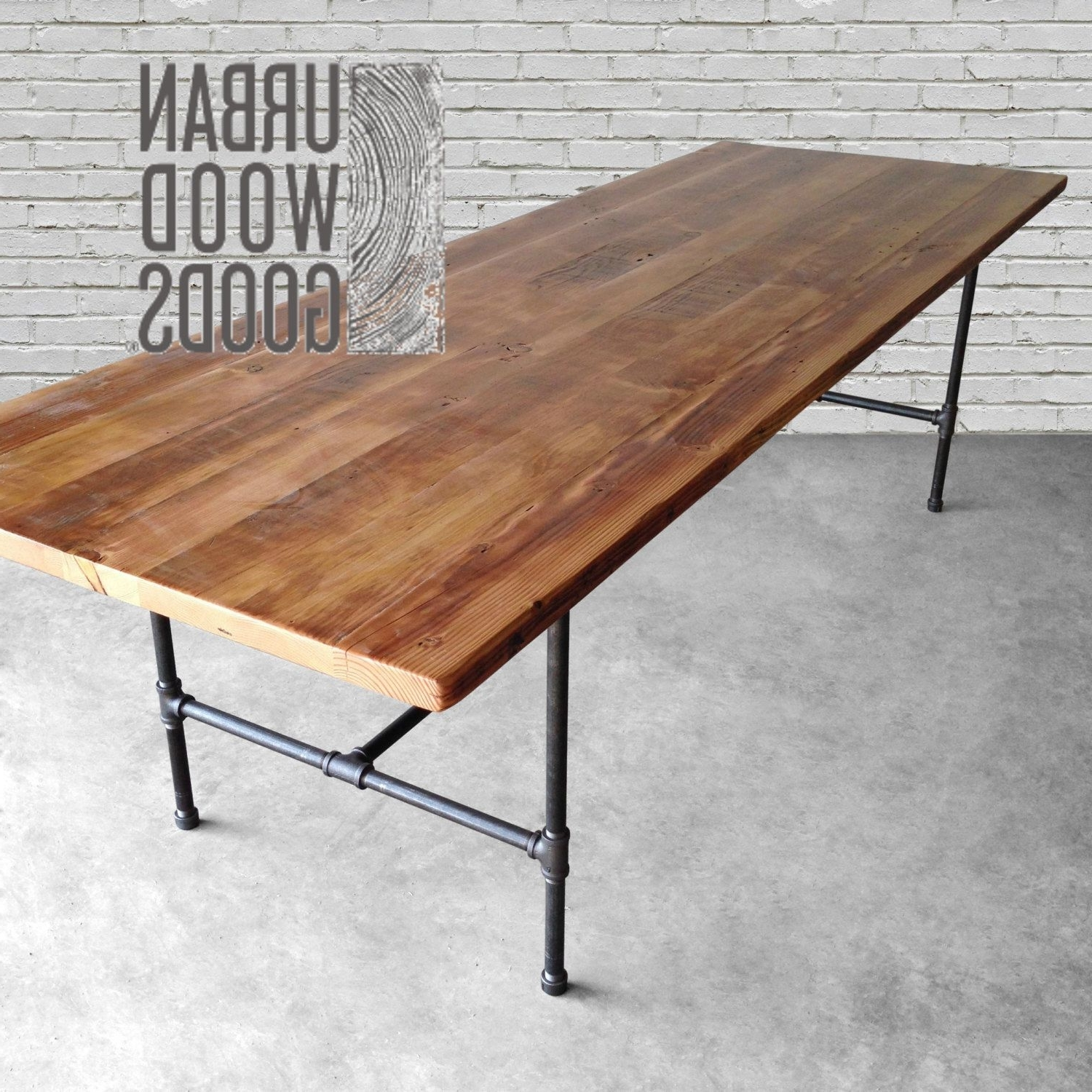 Solid Wood Dining Table With Reclaimed Wood Top And Iron Pipe Legs With Regard To Popular Dining Tables With Metal Legs Wood Top (View 20 of 25)