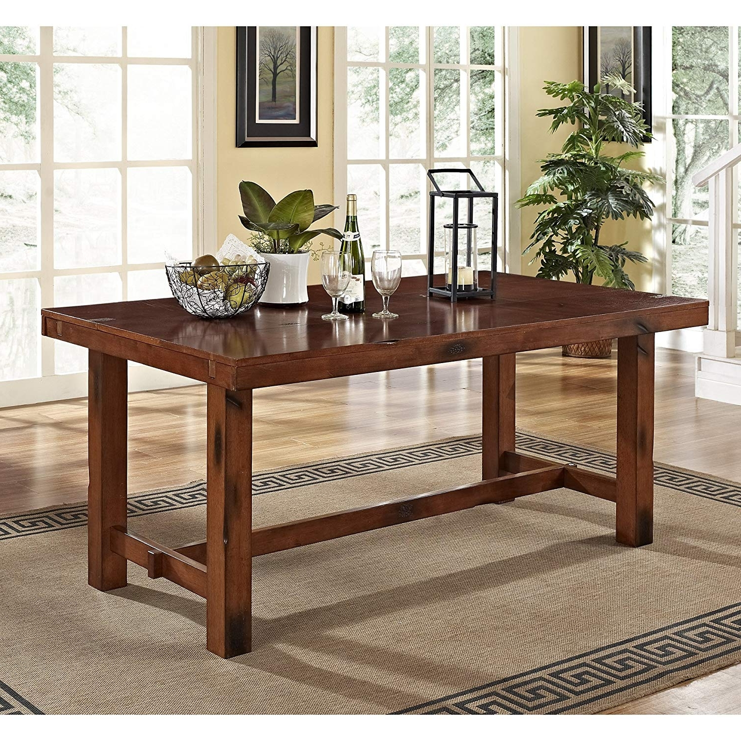 "Solid Wood Dining Tables Pertaining To Most Popular Walker Edison 96"" Solid Wood Dark Oak Dining Table (View 6 of 25)"