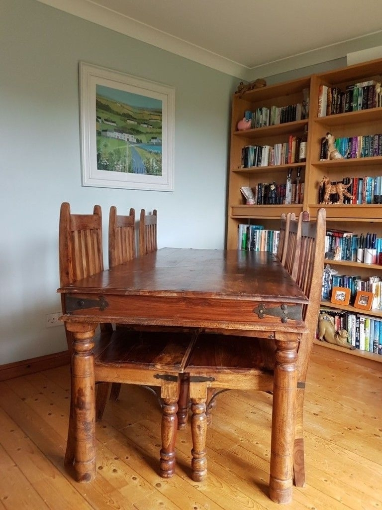 Solid Wood Indian Pine Dining Table And 6 Chairs (View 21 of 25)