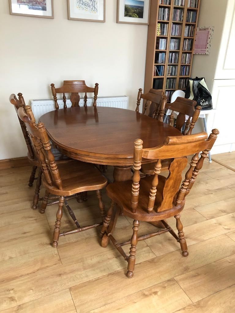 Solid Wood Large 6 Seat Dining Table And Chairs (View 20 of 25)