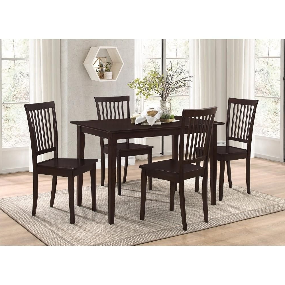 Sophisticated And Sturdy 5 Piece Wooden Dining Set, Brown In 2018 Within Recent Craftsman 9 Piece Extension Dining Sets With Uph Side Chairs (View 3 of 25)