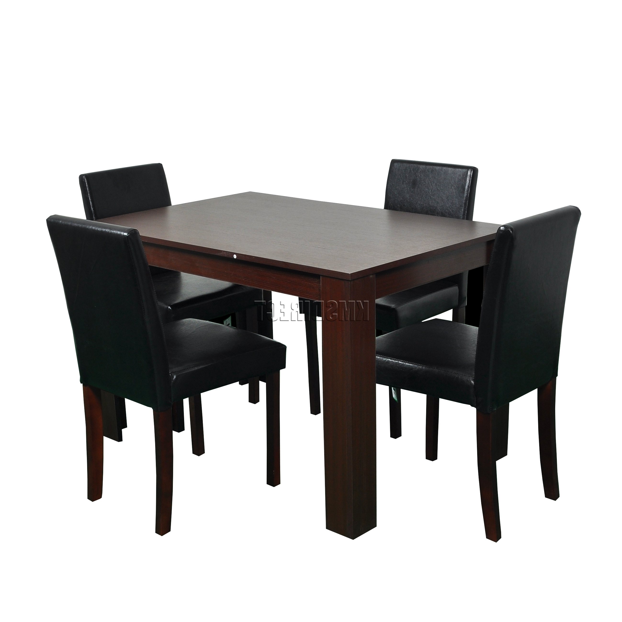Spare Repair Wooden Dining Table X 4 Pu Faux Leather Chairs Set Throughout Most Popular Wooden Dining Sets (View 17 of 25)