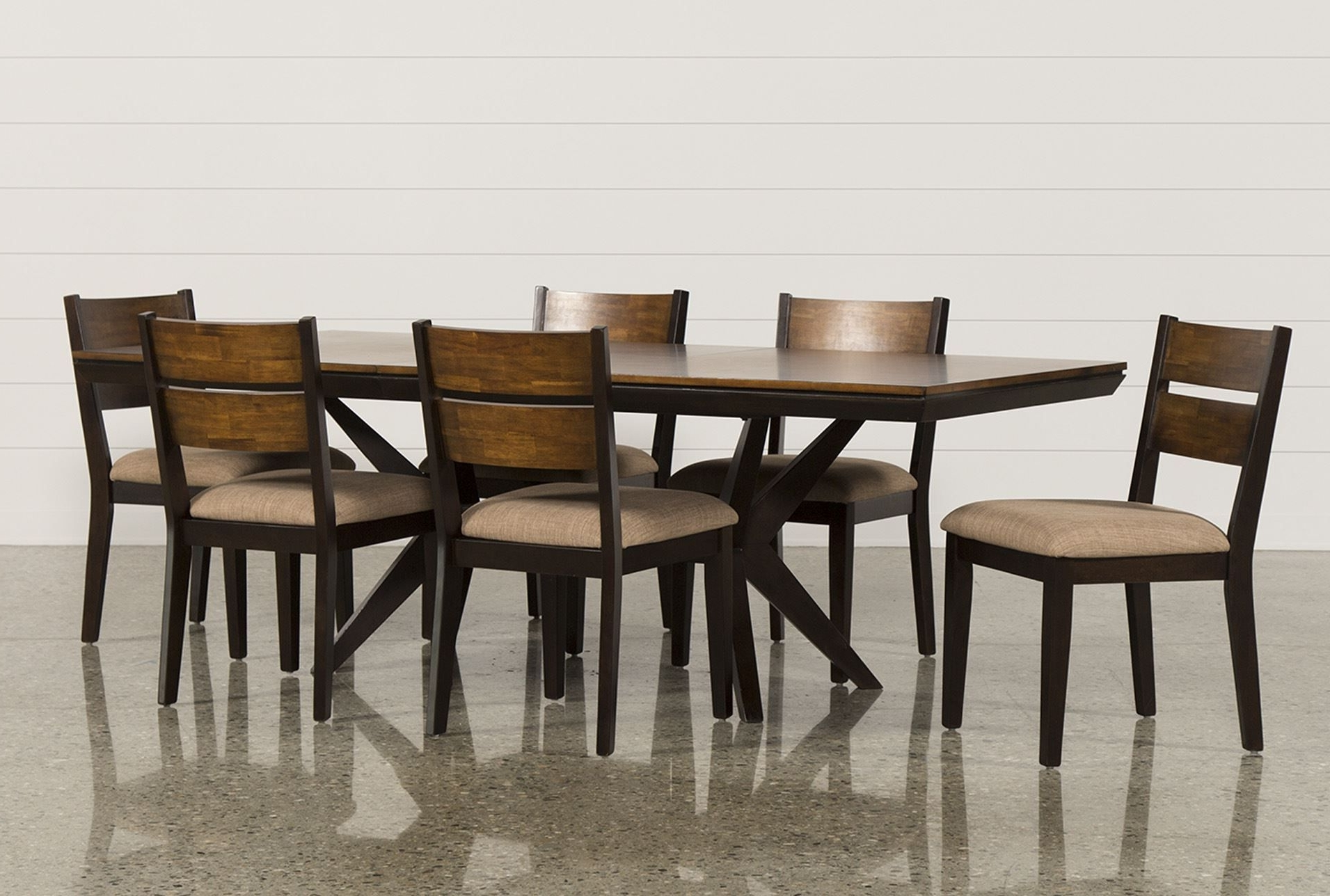 Spencer 7 Piece Rectangle Dining Set W/wood Chairs, Brown (View 14 of 25)
