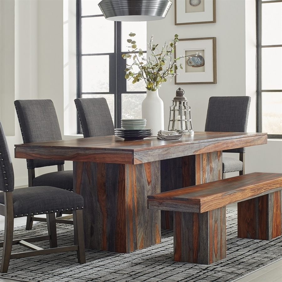 Splendid Design Ideas Grey Wood Dining Set Jaxon 6 Piece Rectangle Intended For Well Known Jaxon Grey 6 Piece Rectangle Extension Dining Sets With Bench & Wood Chairs (View 12 of 25)