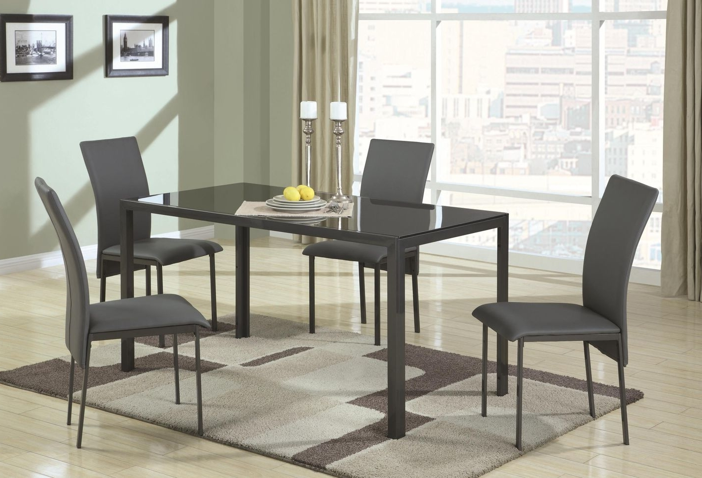 Square Black Glass Dining Tables Within Famous Shelby Black Metal And Glass Dining Table Set – Steal A Sofa (View 9 of 25)
