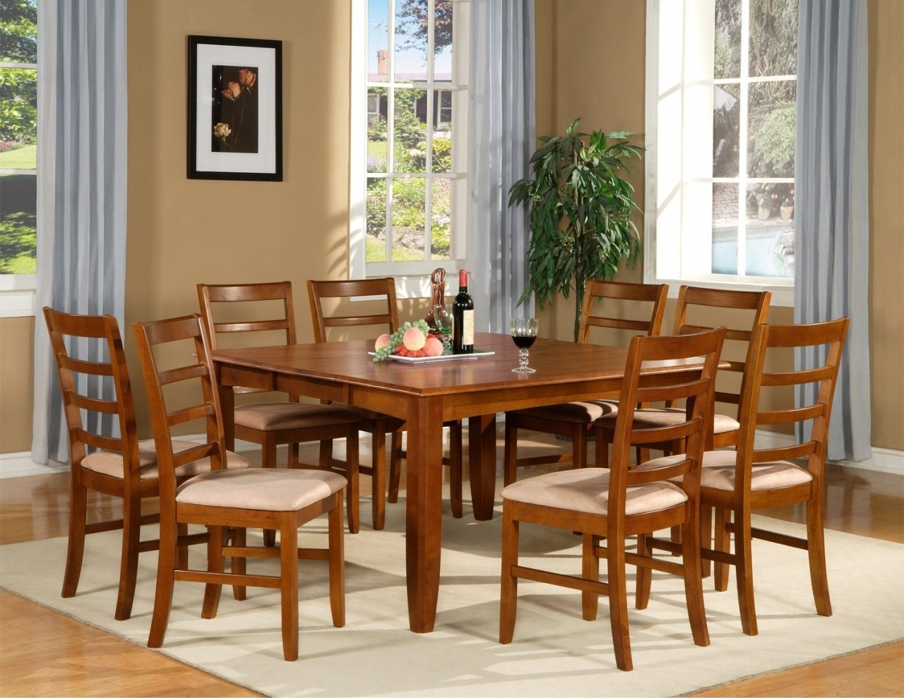 Square Brown Wood Dining Table With Four Legs Addedeight Brown Inside Newest Dining Tables For Eight (View 21 of 25)