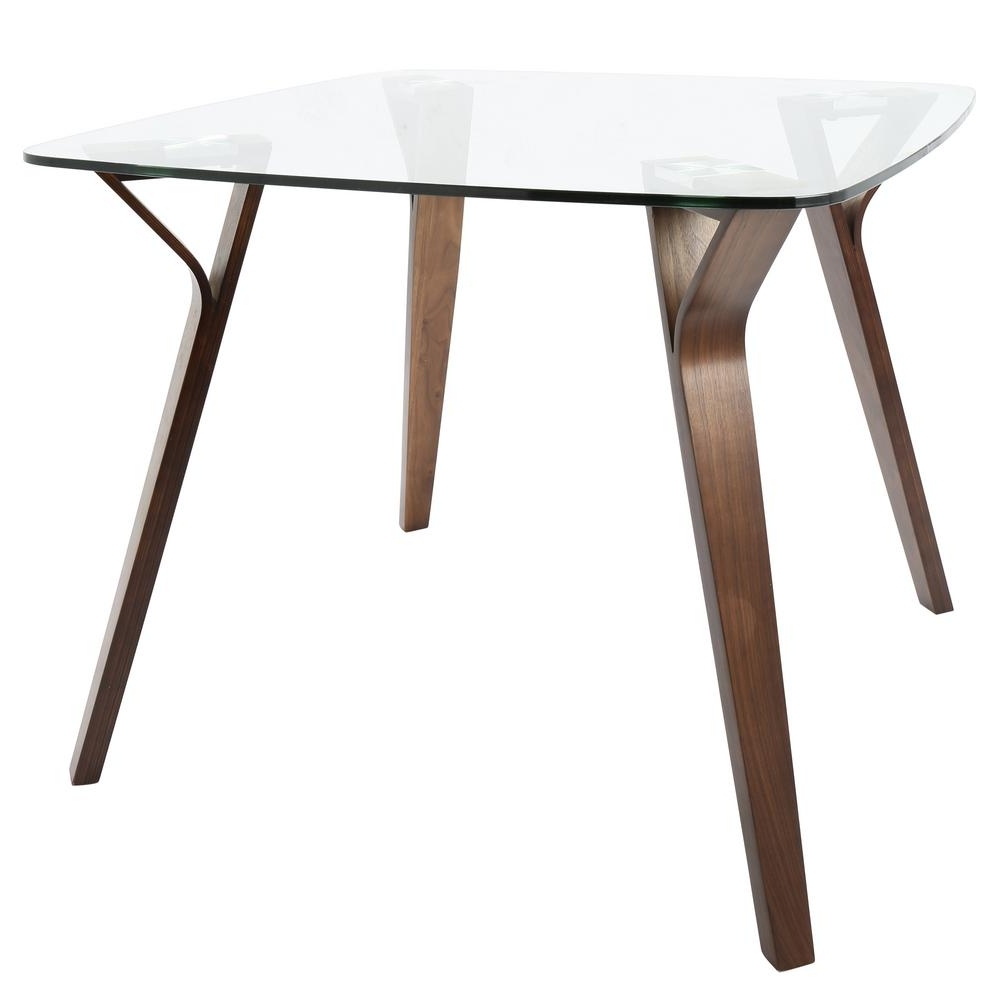 Square Dining Tables With Current Lumisource Folia Mid Century Modern Walnut Square Dining Table With (View 21 of 25)