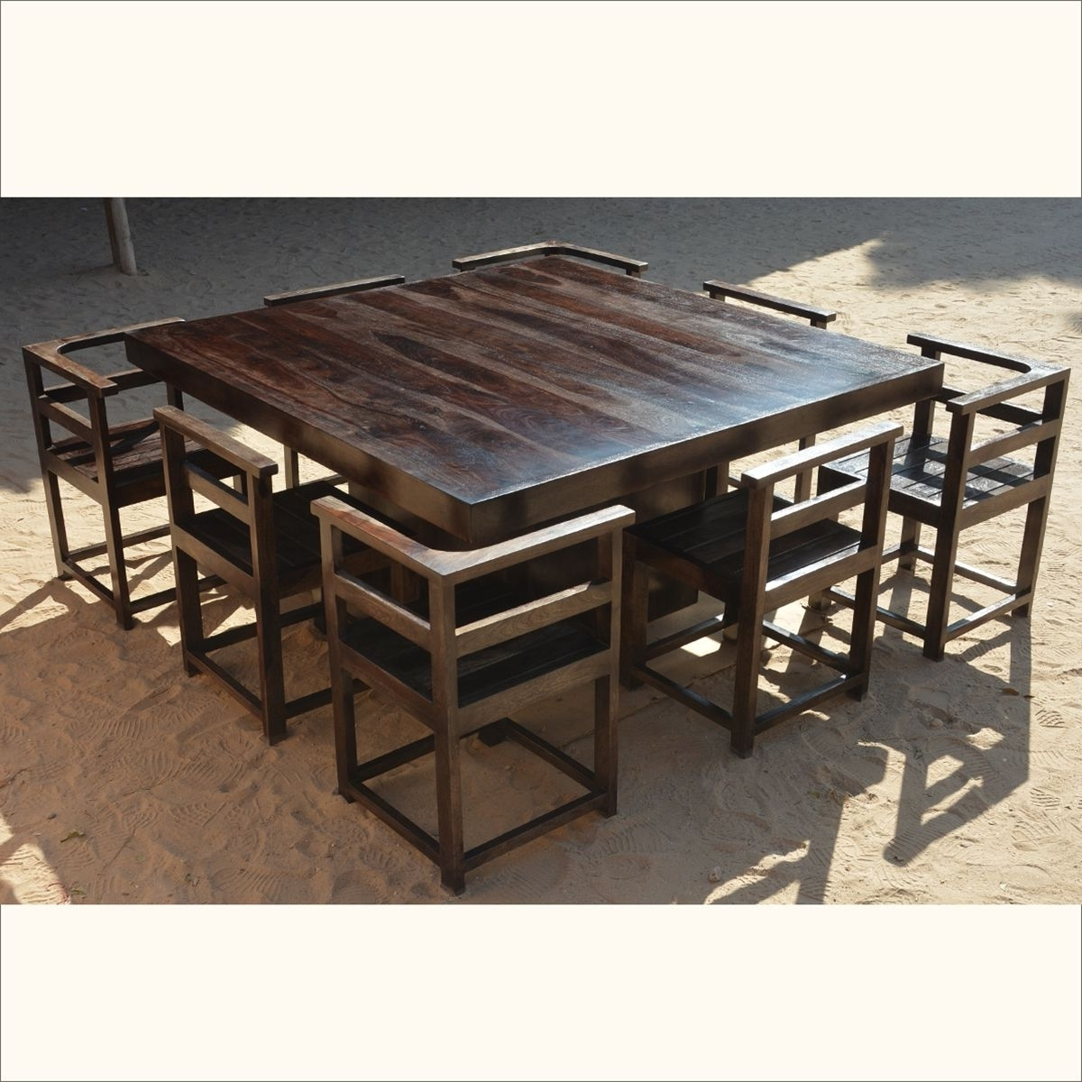 "Square Dining Tables With Popular Modern Rustic Solid Wood 64"" Square Pedestal Dining Table & 8 Chairs (View 6 of 25)"