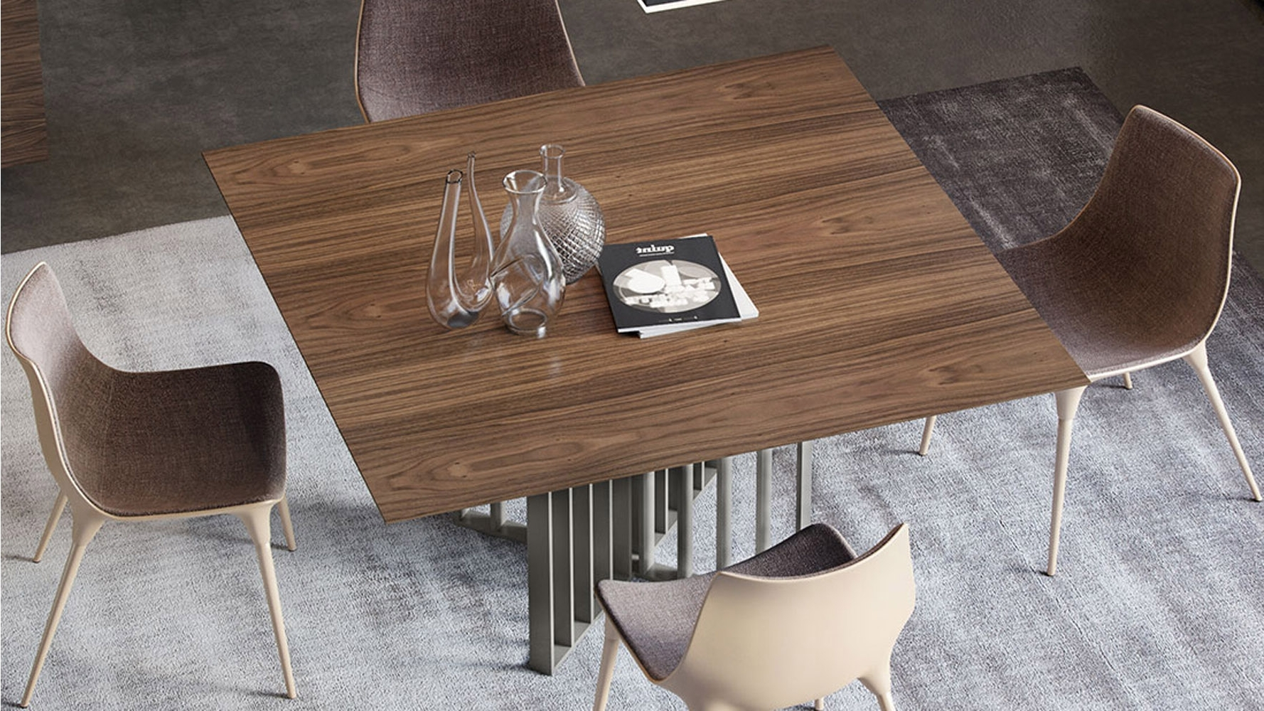 Square Dining Tables Within 2017 Modern Saida Square Dining Table – Walnut On Titanium (View 9 of 25)