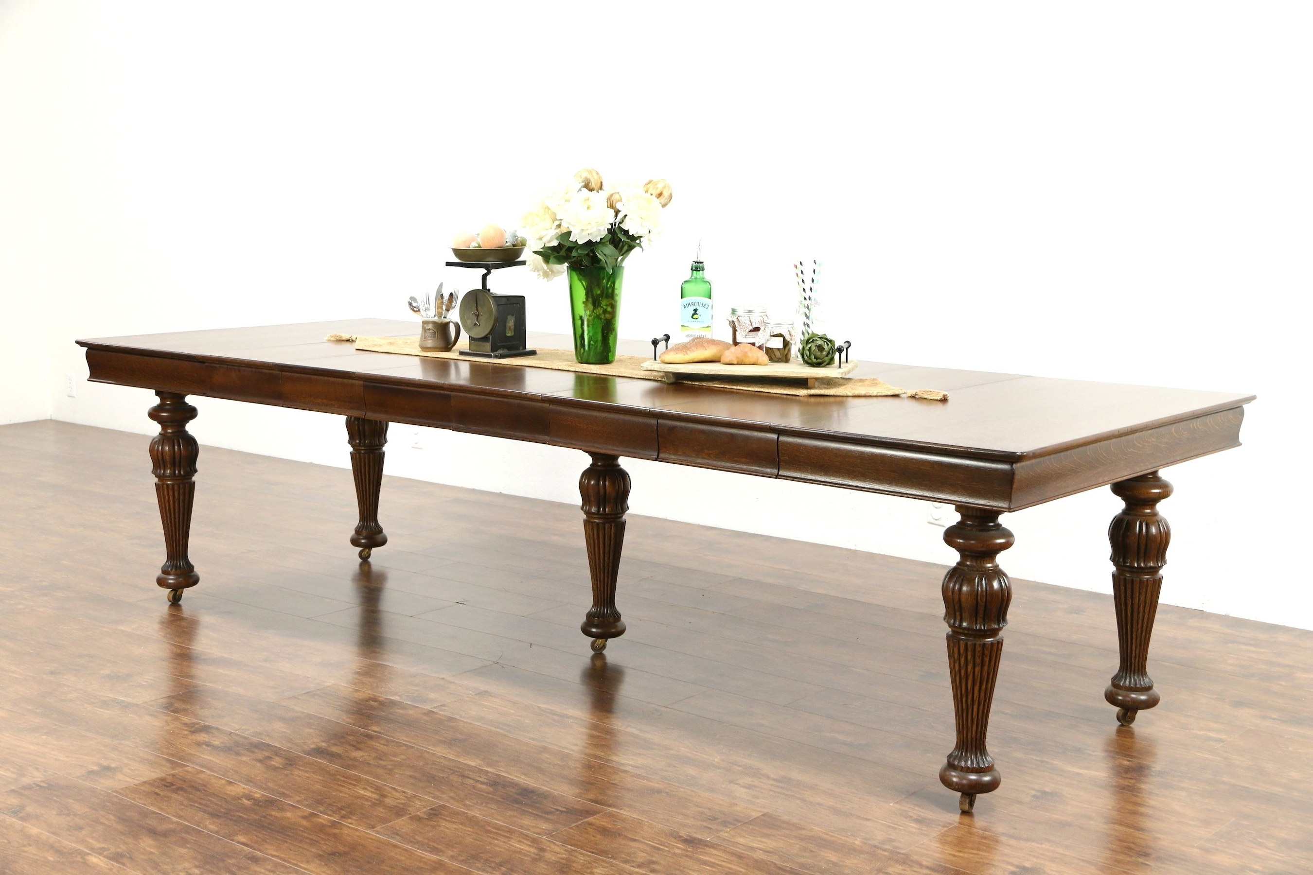 """Square Oak Antique 1900 Dining Table, 6 Leaves, Extends 9' 9"""" – Harp Intended For Trendy Square Oak Dining Tables (View 15 of 25)"""