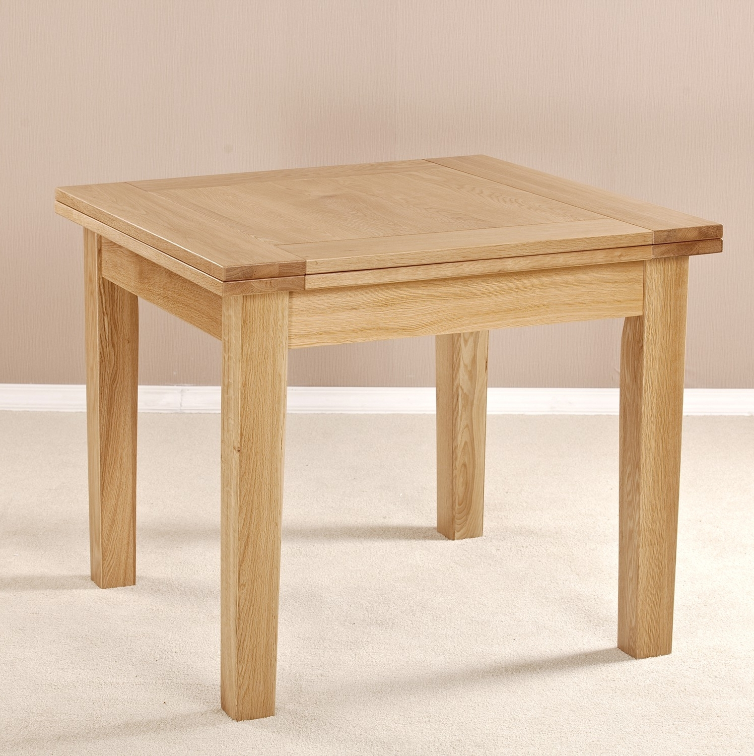 Square Solid Oak Wood Flip Top Extendable Dining Table Design With In Well Known Extendable Square Dining Tables (View 7 of 25)