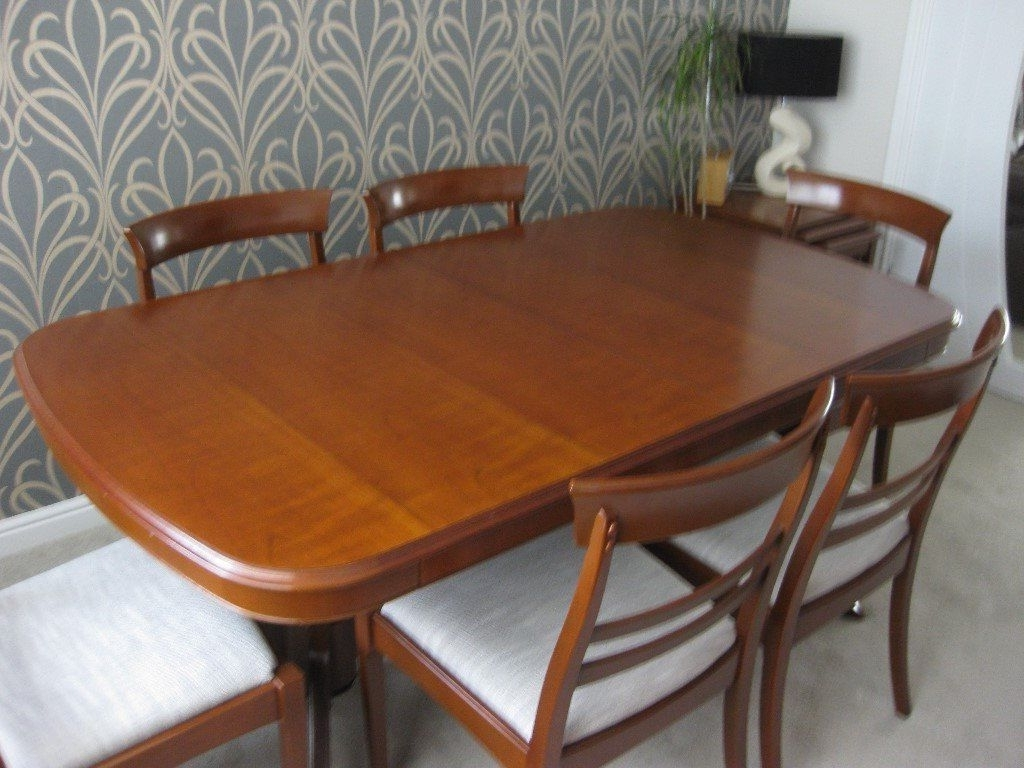 Stag Virginia Cherry Extendable Dining Table & Six Chairs, Sideboard In Well Known Dining Tables For Six (View 21 of 25)