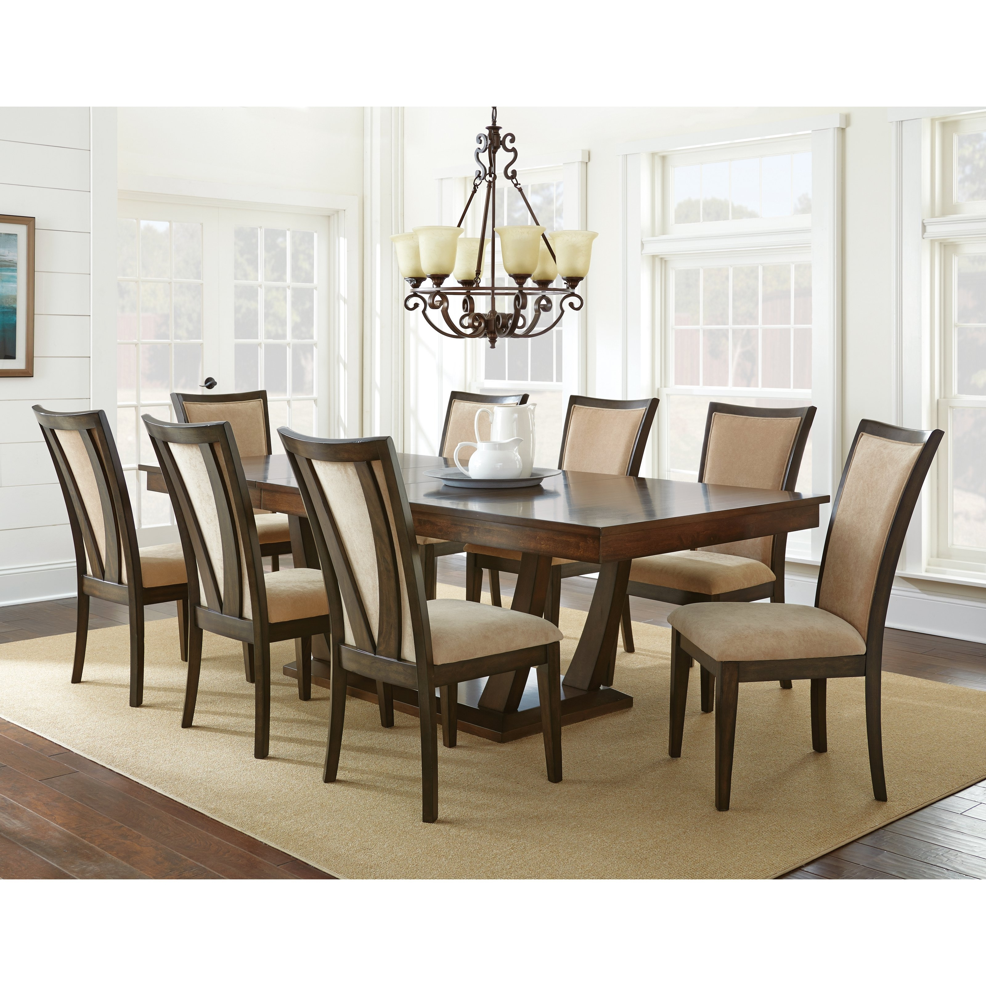 Steve Silver Gabrielle 9 Piece Dining Table Set – Medium Walnut Within Most Current Logan 7 Piece Dining Sets (View 20 of 25)