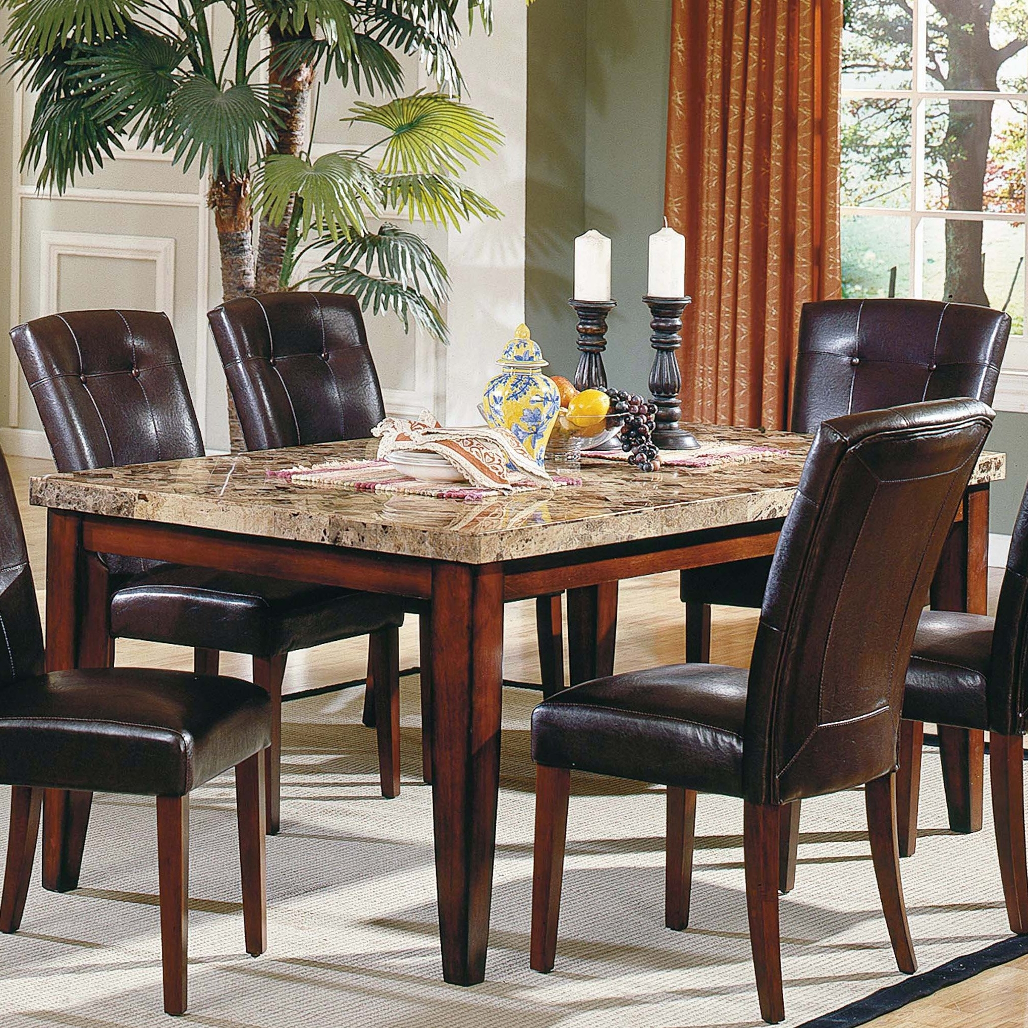 Steve Silver Montibello Marble Top Rectangular Dining Table Within Recent Palazzo 3 Piece Dining Table Sets (View 21 of 25)