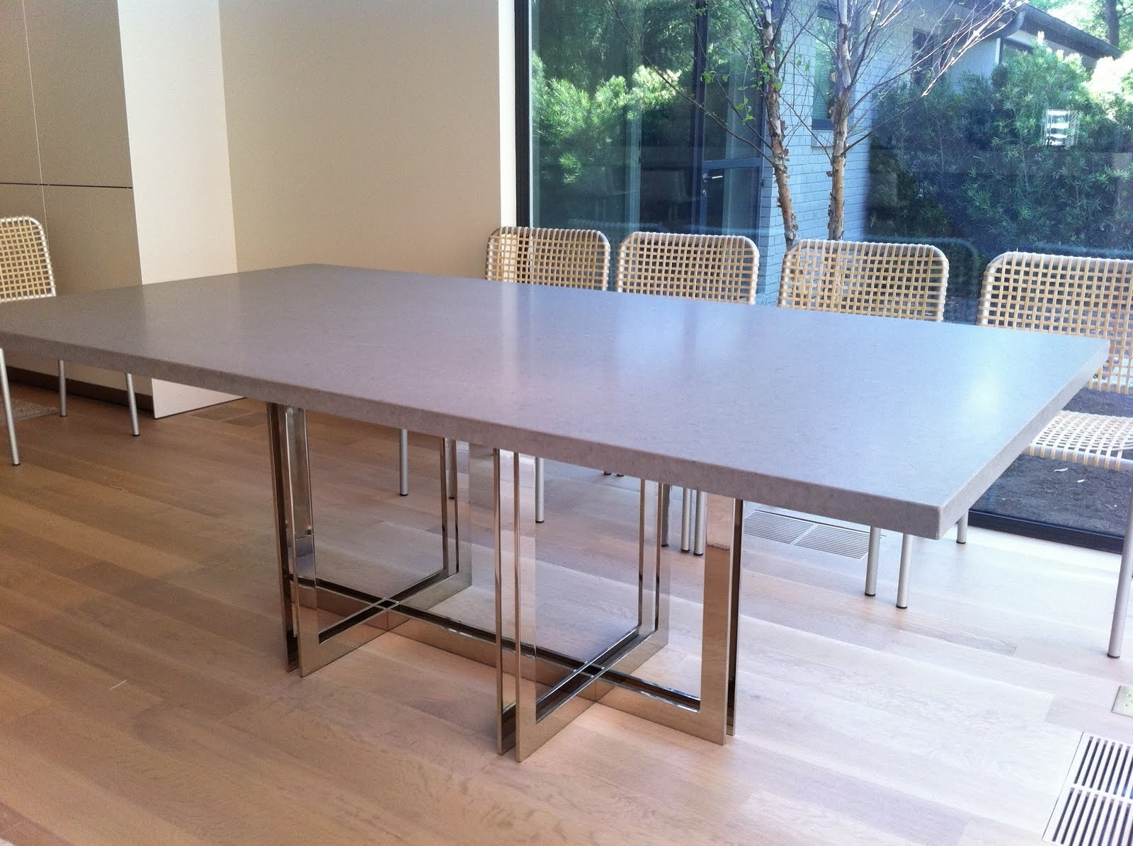 Stone Dining Tables Throughout Well Known Robert N. Wohlfeld: Polished Nickel And Caesar Stone Dining Table (View 20 of 25)