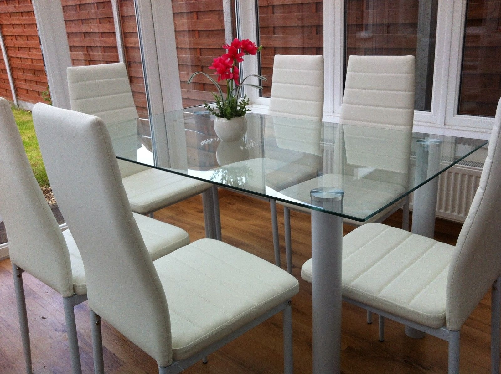 Stunning Glass Dining Table Set And With 4 Or 6 Faux Leather Chairs Regarding 2017 White Glass Dining Tables And Chairs (View 13 of 25)