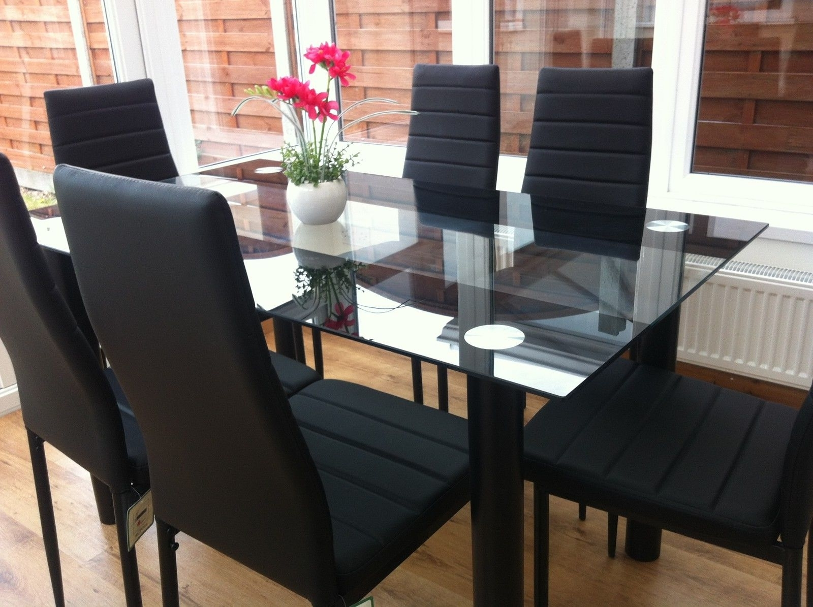 Stunning Glass Dining Table Set And With 4 Or 6 Faux Leather Chairs Throughout Recent Black Glass Dining Tables With 6 Chairs (View 22 of 25)