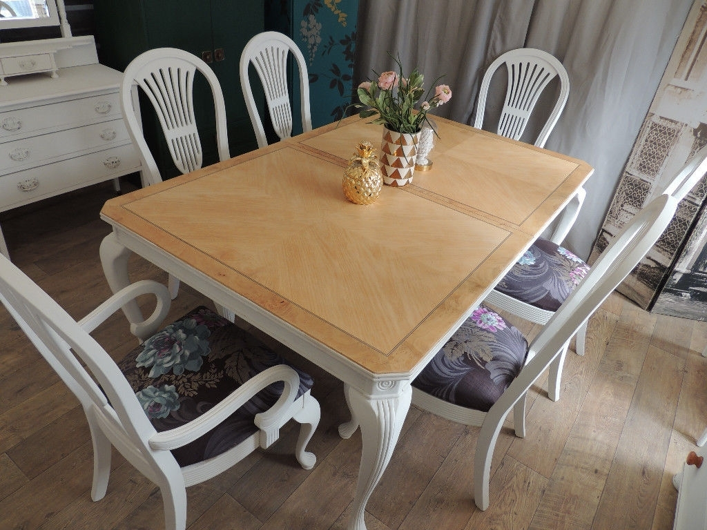 Stunning Shabby Chic Extendable Dining Table And Six Chairs (View 23 of 25)