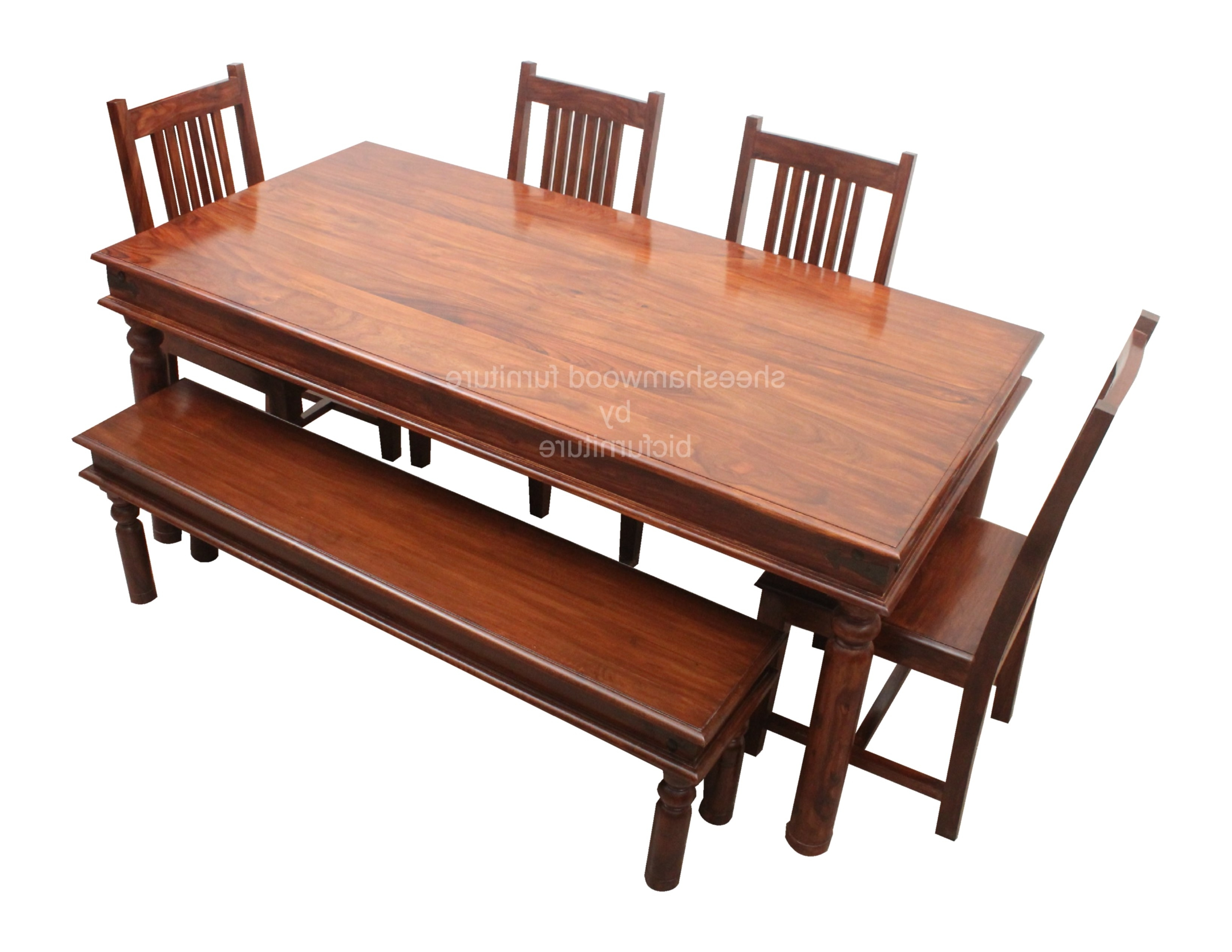 Sturdy Solid Wood Dining Set In Sheesham Wood In Well Known Six Seater Dining Tables (View 5 of 25)
