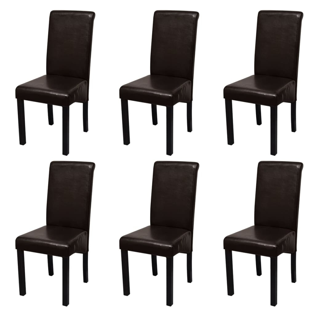 Stylish Dining Chairs With Regard To Well Liked S# 6 Pcs Pu Faux Leather Black Stylish Dining Chairs Wood Kitchen (View 19 of 25)