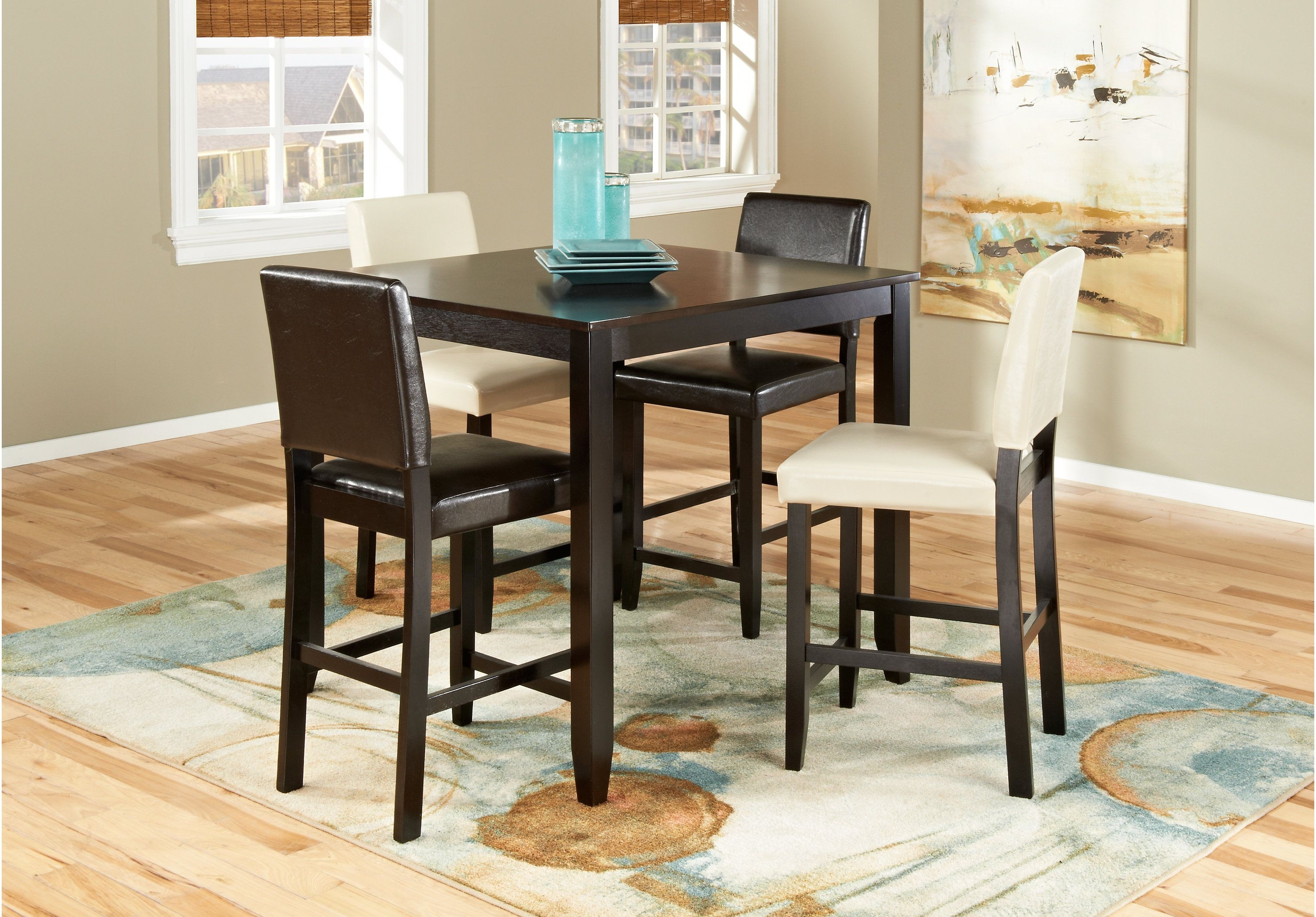 Sunset View Espresso 5 Pc Counter Height Dining Room W Brown Throughout Most Current Pierce 5 Piece Counter Sets (View 20 of 25)