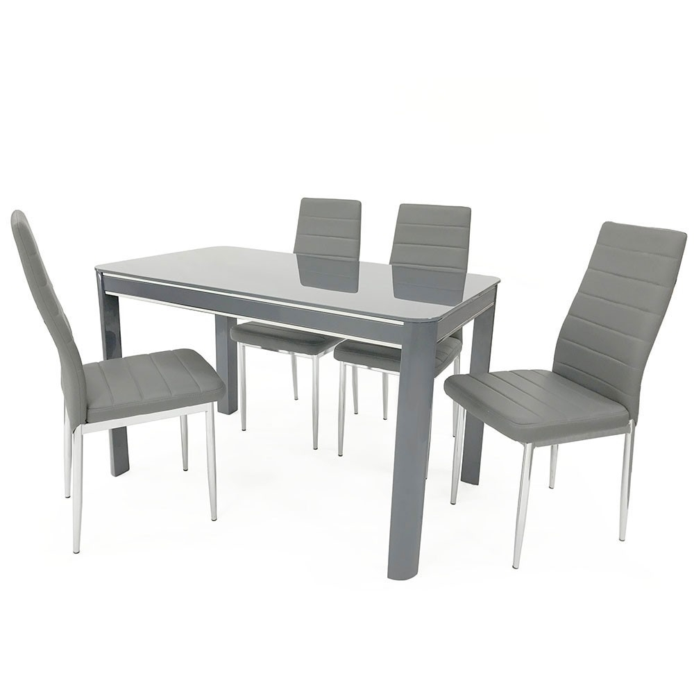 Sweet Slim 70 Cm Wide Narrow Grey Gloss Dining Table Regarding Famous Black Gloss Dining Tables (Gallery 20 of 25)
