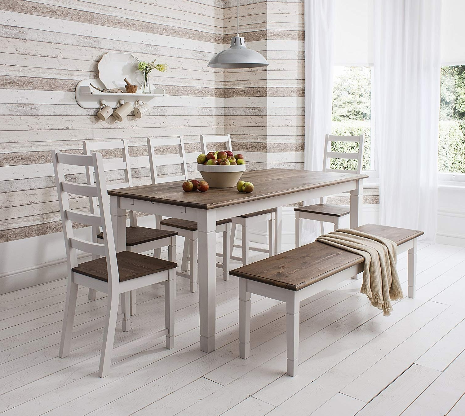 Table And 4 Chairs And Bench Canterbury Dining Table In Contemporary With Recent Jaxon 5 Piece Extension Round Dining Sets With Wood Chairs (View 20 of 25)