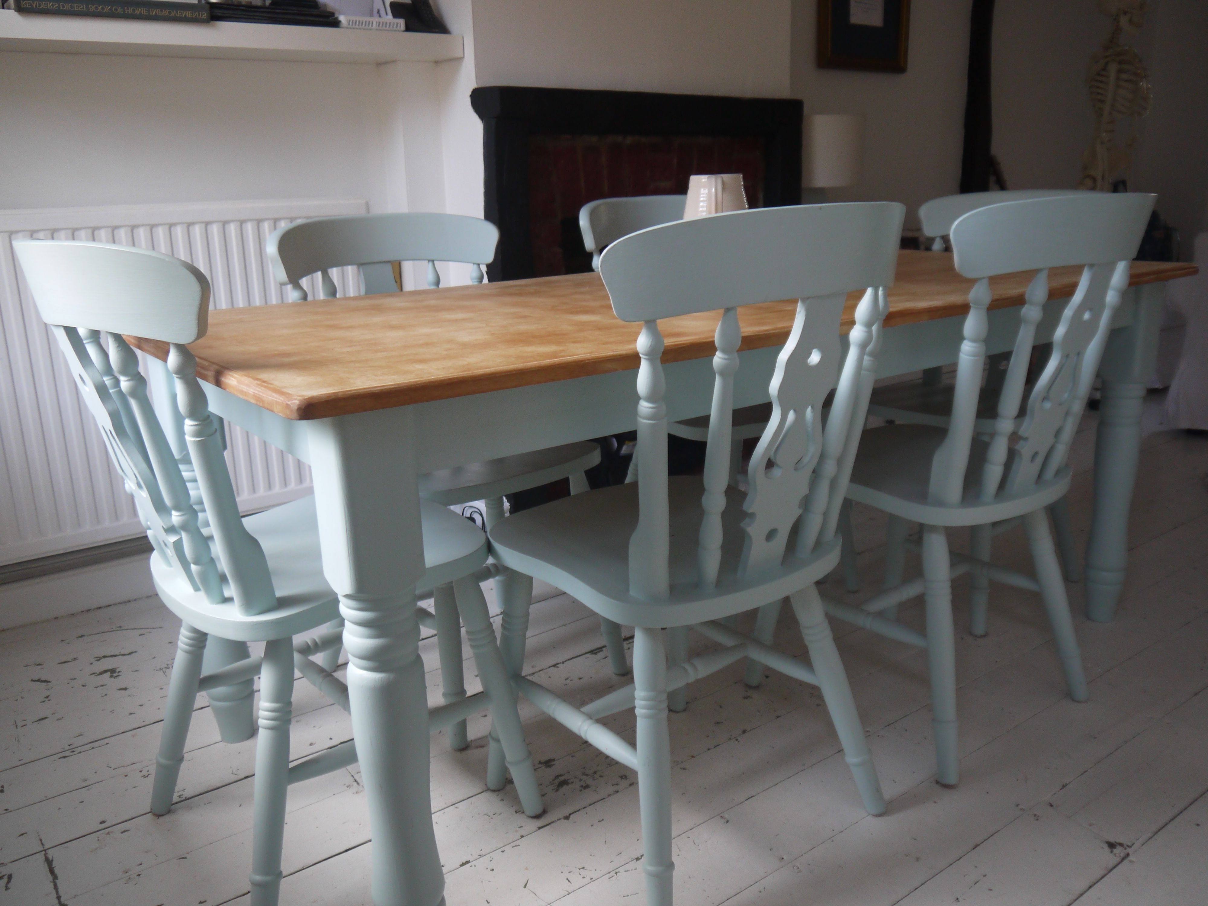 Table And Chairs (Laura Ashley Duck Egg Blue)  Top Needs White Within Famous Wyatt 7 Piece Dining Sets With Celler Teal Chairs (View 18 of 25)