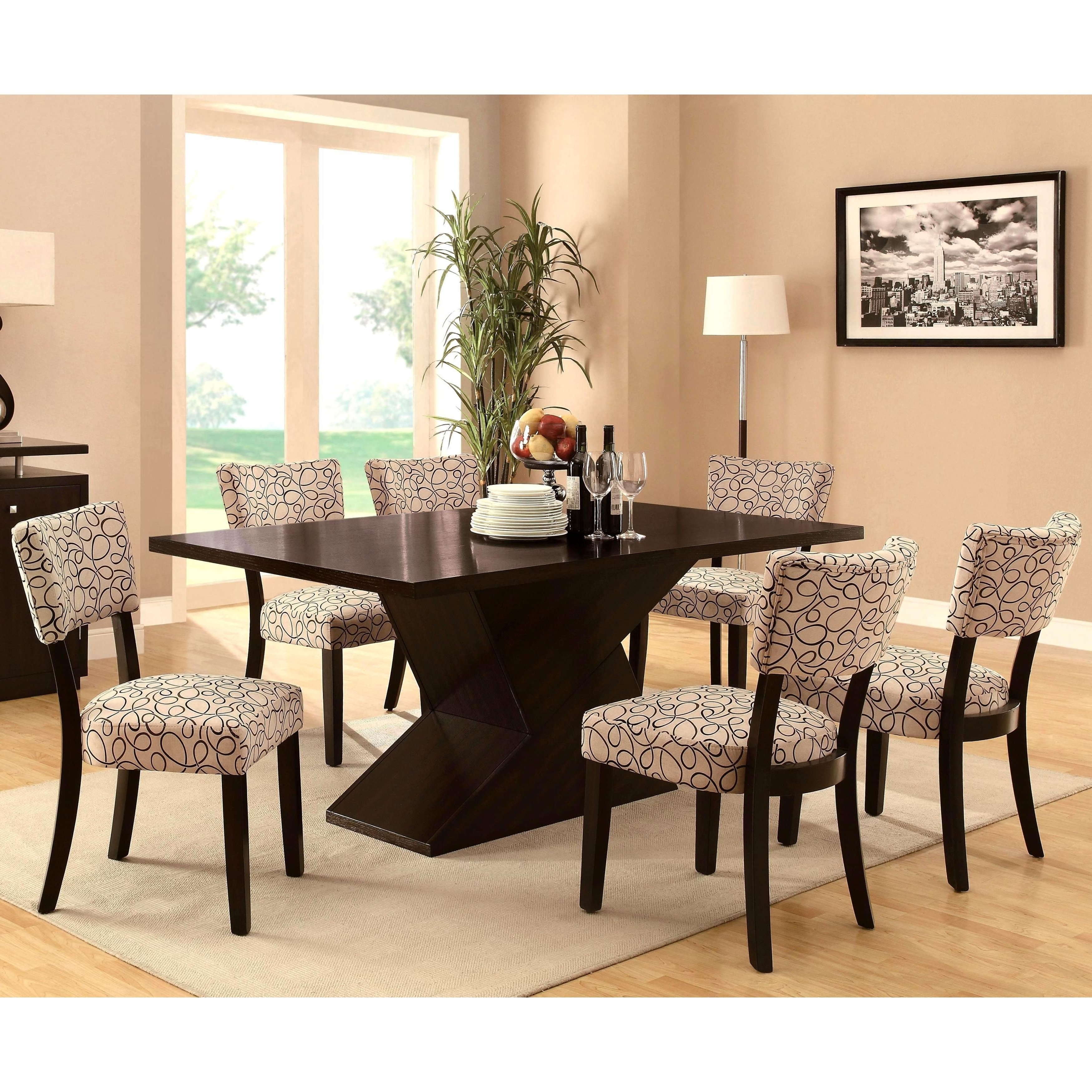 Table Features A Unique Chunky Block Base That Provides Sturdy For Preferred Chandler 7 Piece Extension Dining Sets With Fabric Side Chairs (View 10 of 25)