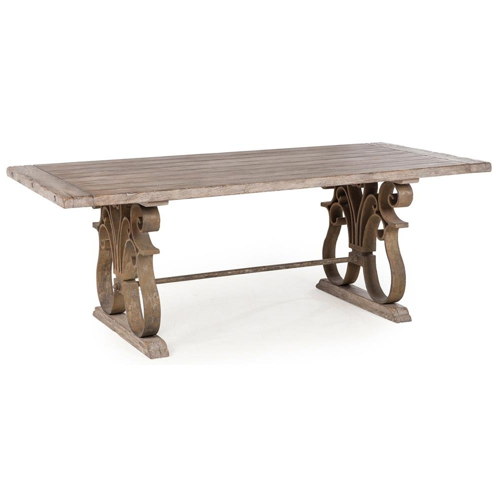 Talulah French Country Rustic Iron Scroll Aged Wood Dining Table Pertaining To Most Popular Wood Dining Tables (View 25 of 25)