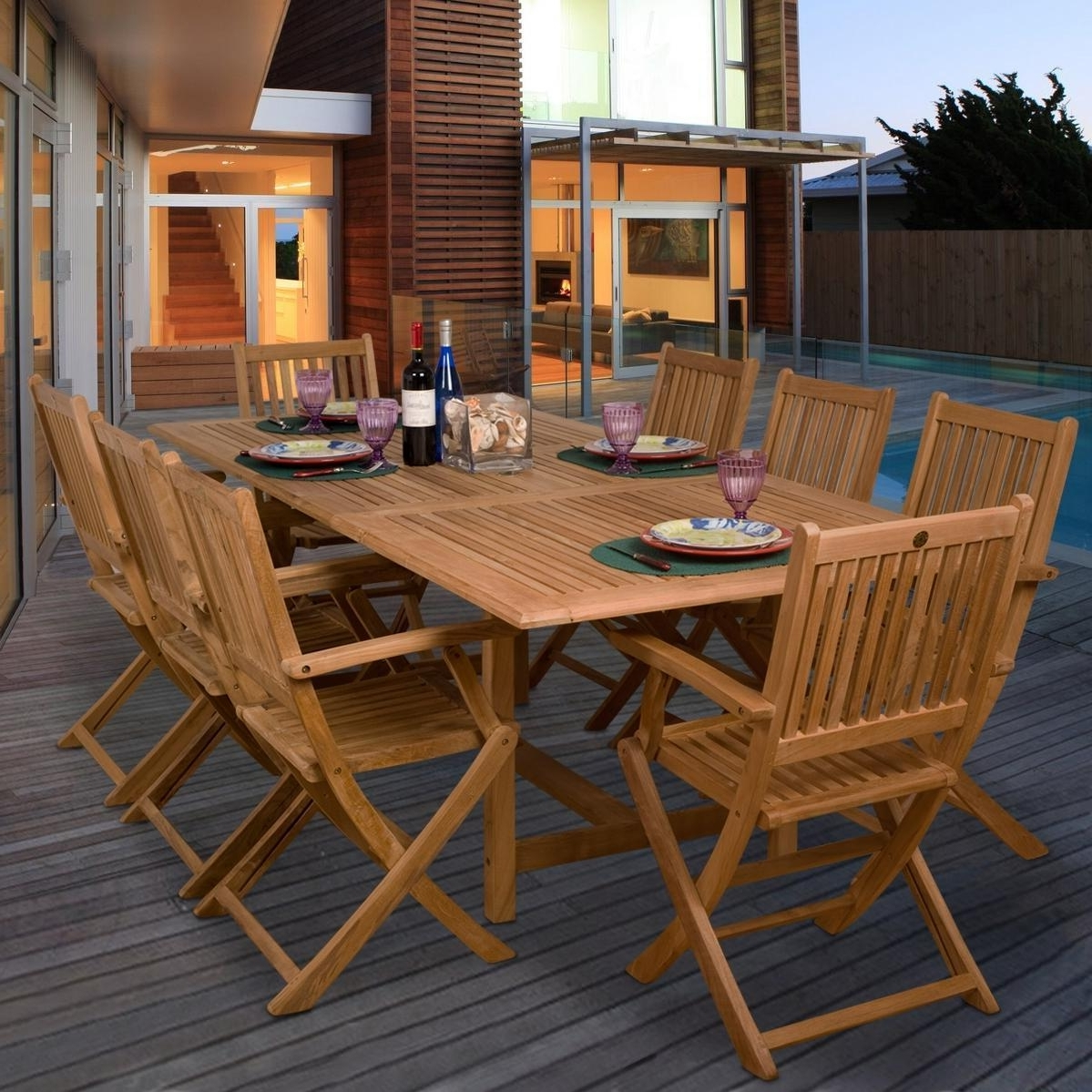 Teak Hamburg 9 Piece Teak Patio Dining Set With 67 X 39 Inch Pertaining To Famous Craftsman 9 Piece Extension Dining Sets (View 20 of 25)
