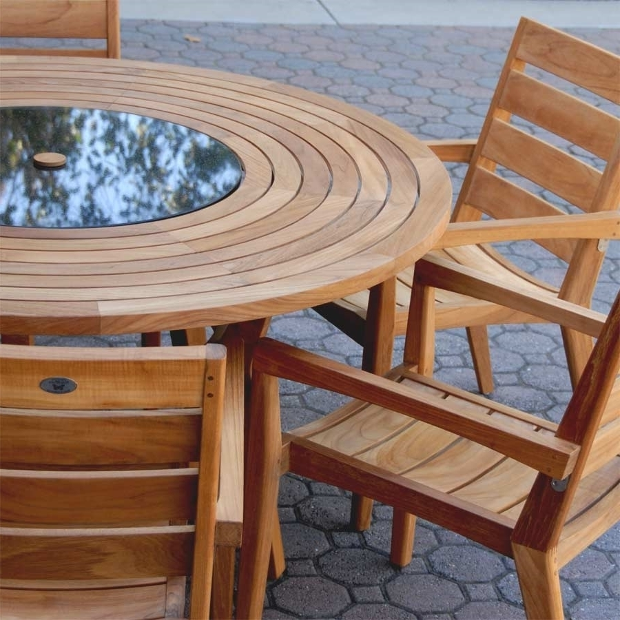 Teak Outdoor Round Dining Table Set – Olga Collection Inside 2018 Round Teak Dining Tables (View 14 of 25)