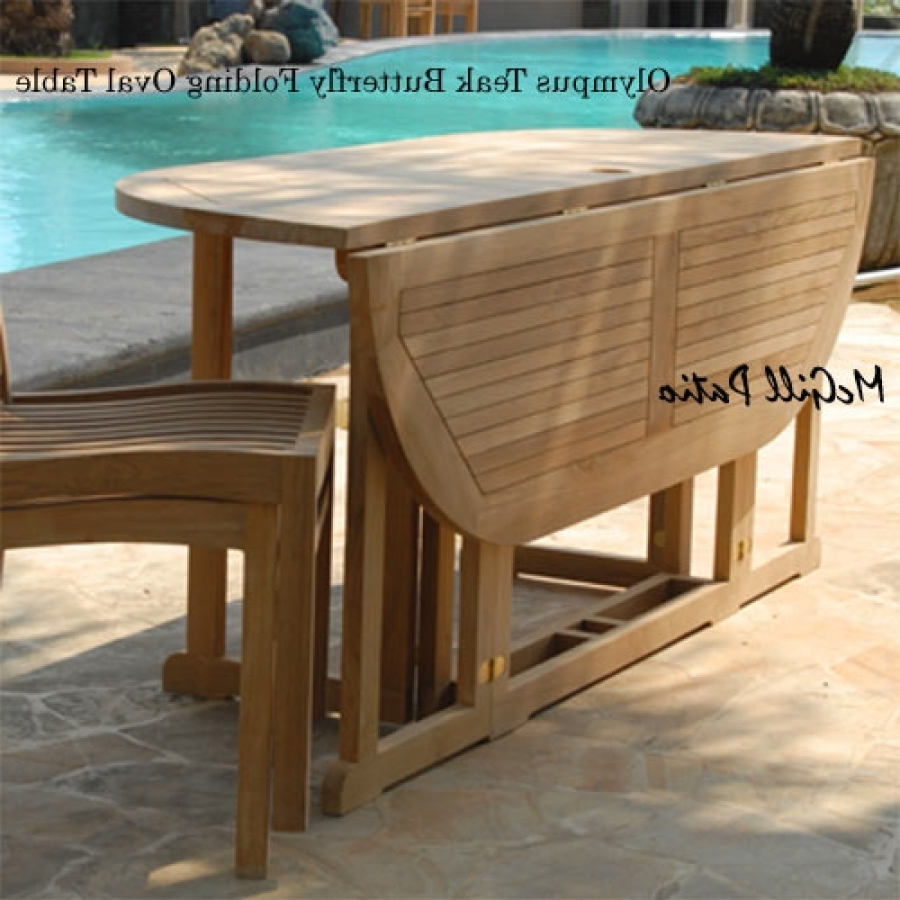 Teak Patio Folding Table – Olympus Oval Intended For Well Known Oval Folding Dining Tables (View 7 of 25)