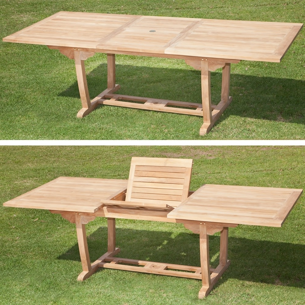 Teak Rectangle Extending Outdoor Dining Table 180 – 240Cm Within Well Known Extending Outdoor Dining Tables (View 17 of 25)