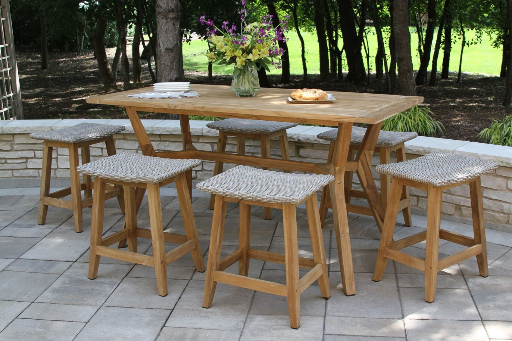 Teak & Wicker Furniture Collection From Outdoor Interiors Throughout Well Liked Outdoor Brasilia Teak High Dining Tables (View 5 of 25)