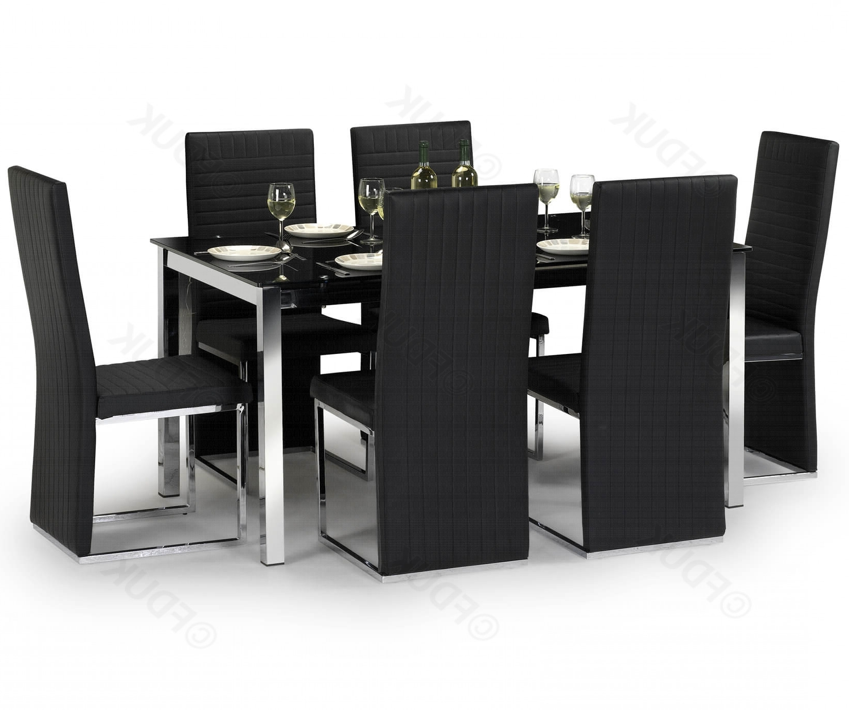 Tempo Black Glass Dining Table Wiht 6 Chairs With Regard To Trendy Black Glass Dining Tables 6 Chairs (View 8 of 25)