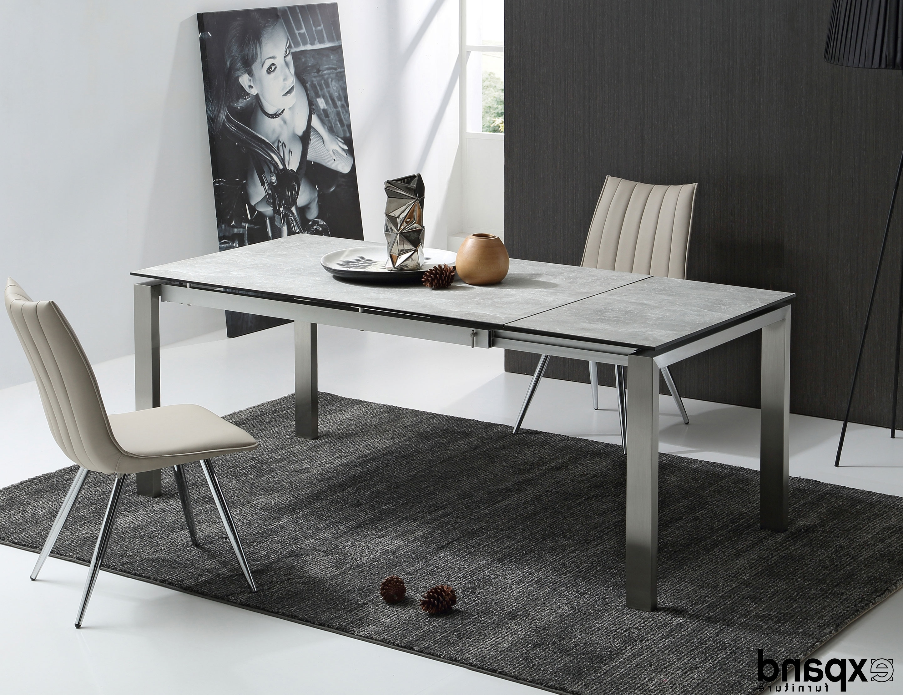 The Slate: Grey Ceramic Glass Top Table Throughout Best And Newest Glass Extending Dining Tables (View 21 of 25)
